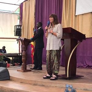 Cyndi Preaching in Uganda